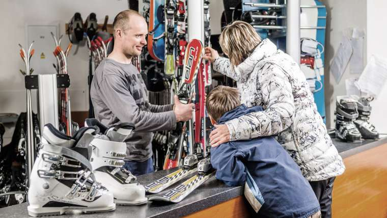 Ski and snowboard equipment rental